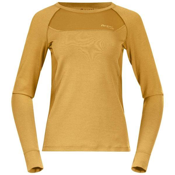 Bergans Cecilie Wool Long Sleeve Light Golden Yellow / Golden Y merinoull ullgenser